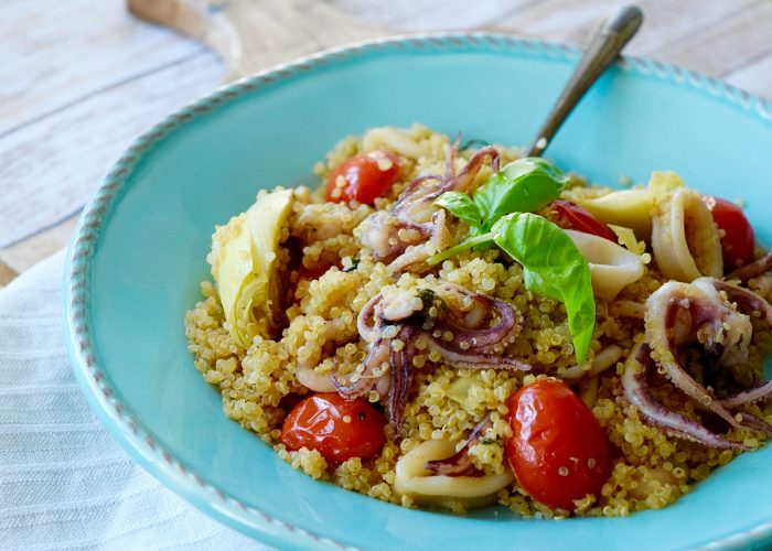 Quinoa and Calamari Salad, photo by Suellen Pineda, RDN, CDN
