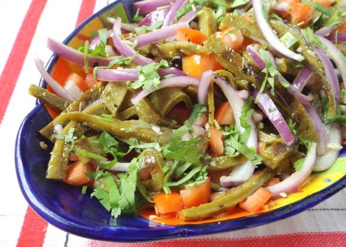 Ensalada de Nopales Asados (Grilled Cactus Salad), photo by Sonia Mendez Garcia