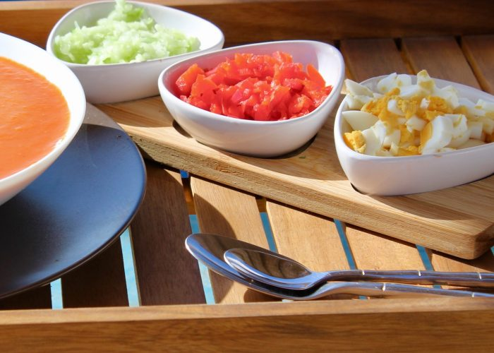 Serve with sides of diced cucumber, egg and red peppers