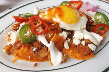 Mexican Breakfast Chilaquiles Recipe with Eggs and Chorizo