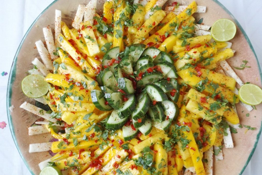 mexican summer fruit salad recipe in chile lime vinaigrette