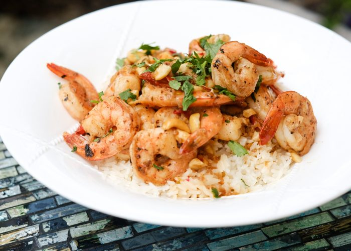 Serve hot or at room temperature. This sauce is wonderful with seafood, like this Thai shrimp over coconut rice dish!