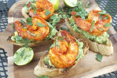 Achiote Grilled Shrimp on Guacamole Crostini