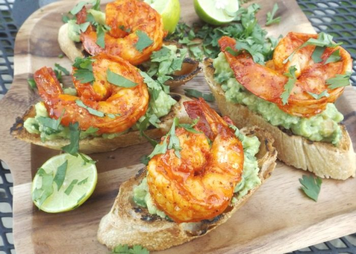 Achiote Grilled Shrimp on Guacamole Crostini, photo by Sonia Mendez Garcia