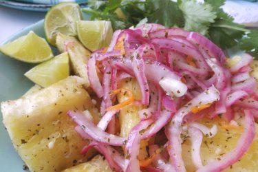 Yuca en Escabeche (Pickled Yuca Salad), photo by Sonia Mendez Garcia
