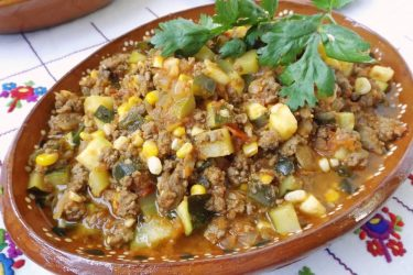 Picadillo con Calabacitas y Elote (Beef and Zucchini), photo by Sonia Mendez Garcia