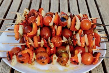 BBQ Cherry Tomato And Red Peppers Skewers