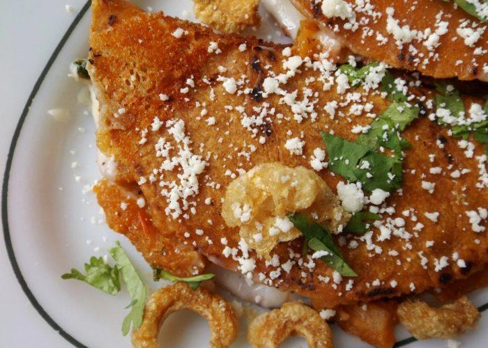 Quesadillas Rojas de Chicharrón (Pork Cracklin Quesadillas), photo by Sonia Mendez Garcia
