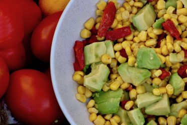 Sweet Corn and Roasted Red Pepper Salad, photo by Jennifer Rice