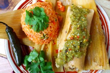 Pork Carnitas Tamal with Salsa Verde, photo by Sonia Mendez Garcia