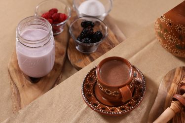 Two Easy Ways To Flavor Your Milk: Berry Milk and Foamy Ancestral Mexican Hot Chocolate, photo by Santiago Osuna