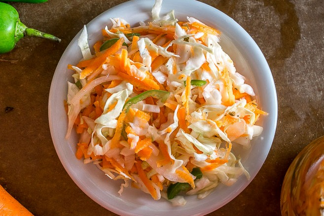 Spicy Curtido (Pickled Cabbage Slaw)