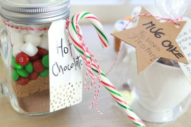 Chocolate Mug Cake and Hot Chocolate Homemade Christmas Gifts, photo by Hispanic Kitchen