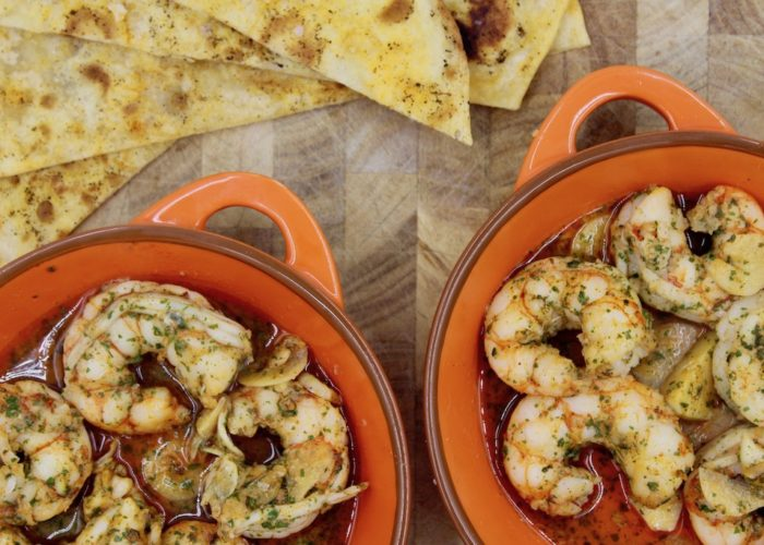Sizzling Gambas al Ajillo (Garlic Shrimp), photo by Jennifer Rice