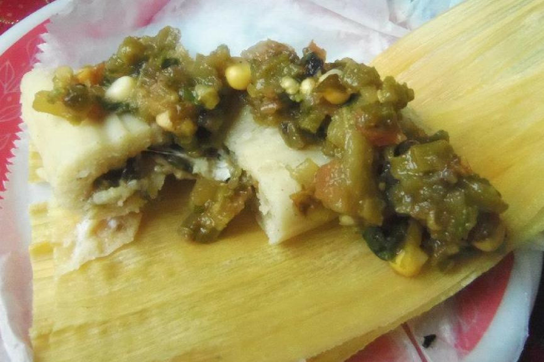 Roasted Cactus Salsa and Cheese Tamales