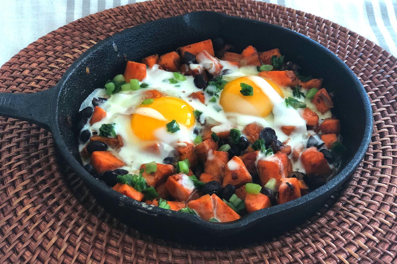 Mexican sweet potato skillet hash