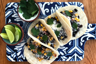 Black bean and corn vegetarian tacos