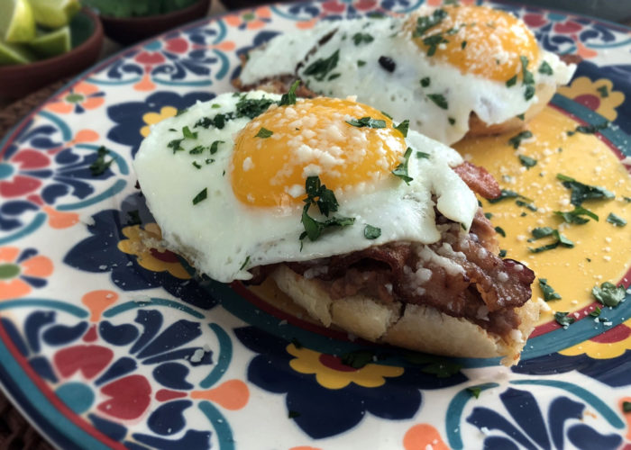 Bacon and Eggs Breakfast Molletes, photo by Hispanic Kitchen