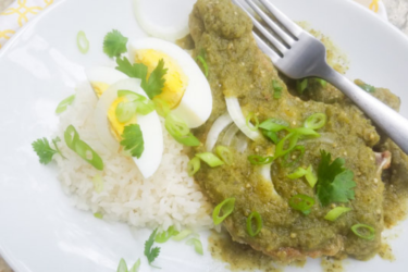 Chuletas De Puerco en Salsa Verde (Pork Chops in Salsa Verde), photo by Catherine Arena