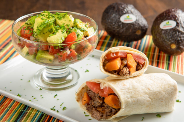 Sweet potato and turkey burrito with avocado pico de gallo, photo by Avocados From Mexico