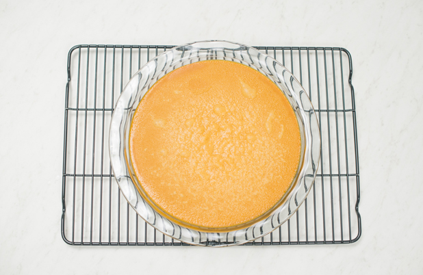 Bake for 50 minutes or until knife tip inserted near center comes out clean. Remove flan from water. Cool on wire rack. Refrigerate for 4 hours or overnight.